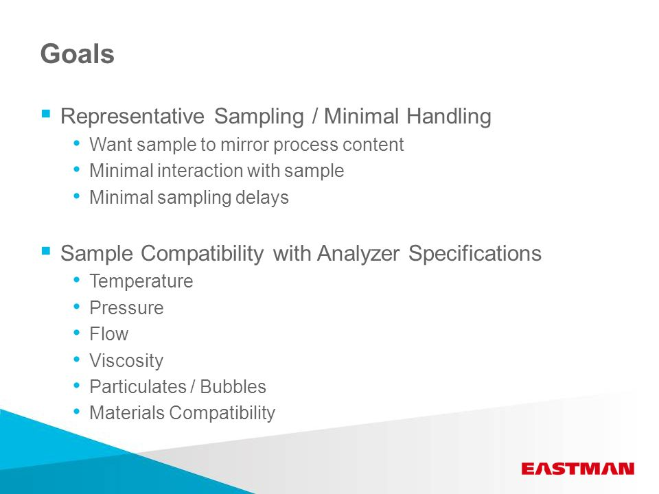 Goals  Representative Sampling / Minimal Handling Want sample to mirror process content Minimal interaction with sample Minimal sampling delays  Sample Compatibility with Analyzer Specifications Temperature Pressure Flow Viscosity Particulates / Bubbles Materials Compatibility