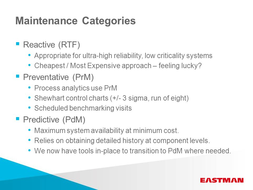 Maintenance Categories  Reactive (RTF) Appropriate for ultra-high reliability, low criticality systems Cheapest / Most Expensive approach – feeling lucky.