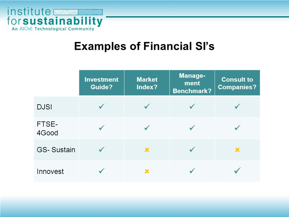 An Example The Dow Jones Sustainability Index (DJSI) Investment guide –Includes only companies that meet DJSI criteria – governance, transparency, accountability Stock market index –Track market performance of DJSI components –Subset of corresponding broader indexes DJSI World, subset of Dow Jones World Index Benchmarking –Inclusion, being sector leader –Consulting services through SAM – analysis and recommendations for companies who want to be included, improve ratings