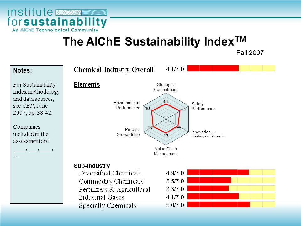  Strategic Commitment  Safety Performance  Environmental Performance  Resource Use  Waste & Emissions  Environmental liabilities  Product Stewardship  Innovation  Product and service innovation – meeting social needs  Process innovation  Value Chain Management  EHS Management  Supply Chain Management  Stakeholder Engagement Elements of the Index