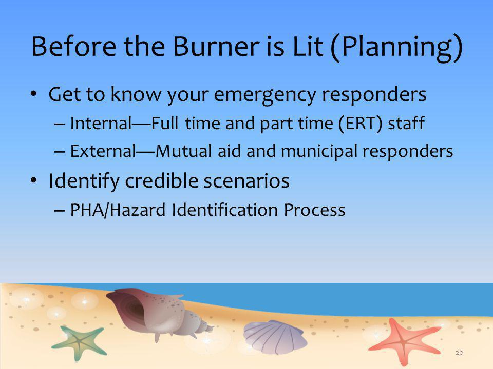 Before the Burner is Lit (Planning) Get to know your emergency responders – Internal—Full time and part time (ERT) staff – External—Mutual aid and mun