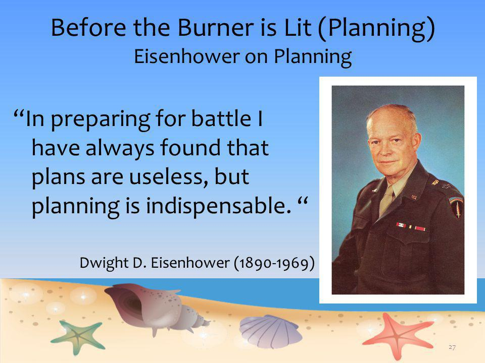 """Before the Burner is Lit (Planning) Eisenhower on Planning """"In preparing for battle I have always found that plans are useless, but planning is indisp"""