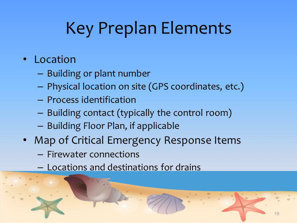 Key Preplan Elements Location – Building or plant number – Physical location on site (GPS coordinates, etc.) – Process identification – Building conta