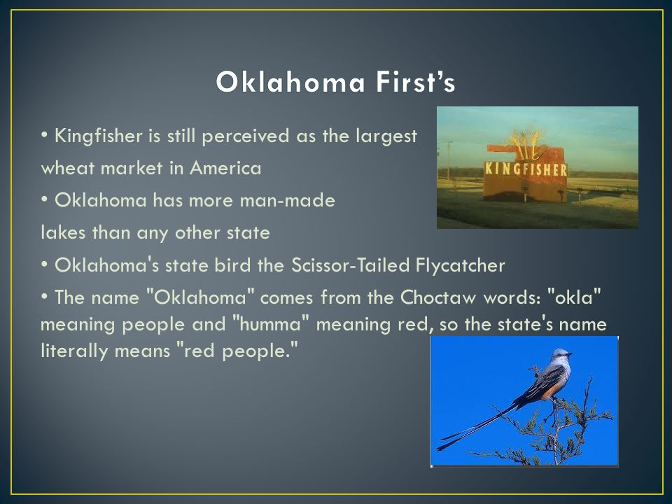 Kingfisher is still perceived as the largest wheat market in America Oklahoma has more man-made lakes than any other state Oklahoma s state bird the Scissor-Tailed Flycatcher The name Oklahoma comes from the Choctaw words: okla meaning people and humma meaning red, so the state s name literally means red people.