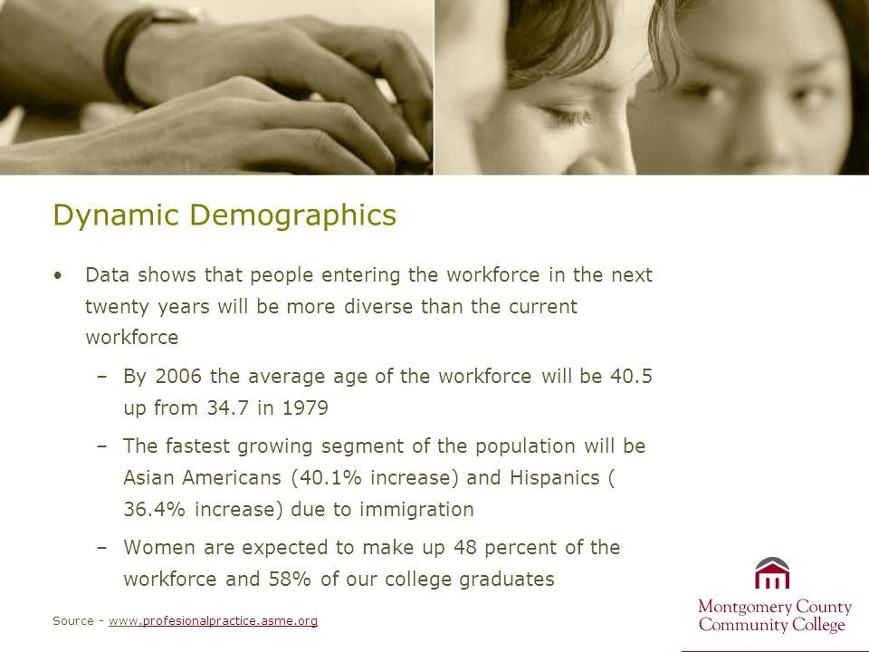 Dynamic Demographics Data shows that people entering the workforce in the next twenty years will be more diverse than the current workforce –By 2006 t