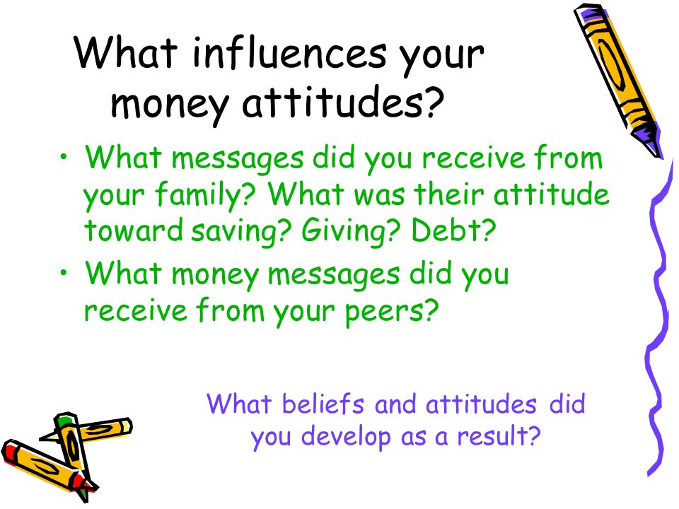 What messages did you receive from your family? What was their attitude toward saving? Giving? Debt? What money messages did you receive from your pee