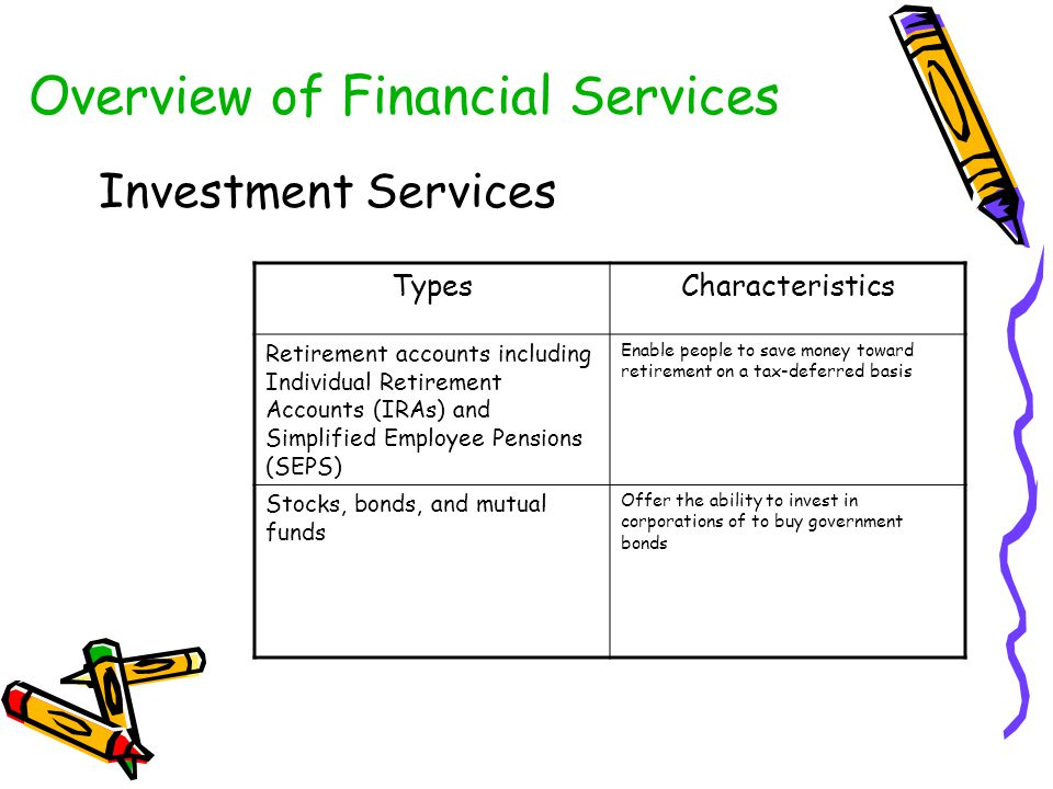 Overview of Financial Services Investment Services TypesCharacteristics Retirement accounts including Individual Retirement Accounts (IRAs) and Simpli