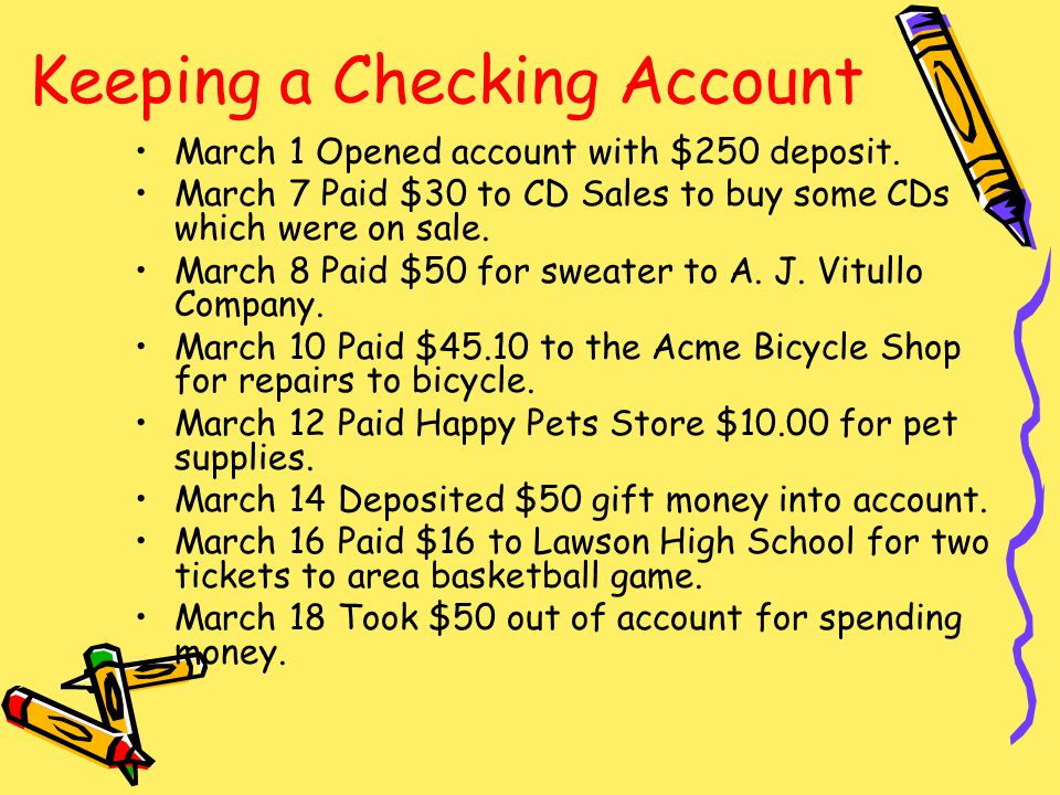 March 1 Opened account with $250 deposit. March 7 Paid $30 to CD Sales to buy some CDs which were on sale. March 8 Paid $50 for sweater to A. J. Vitul