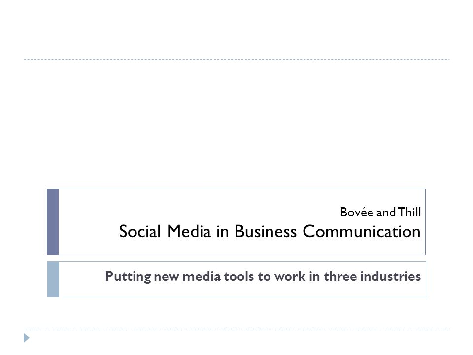 Bovée and Thill Social Media in Business Communication Putting new media tools to work in three industries