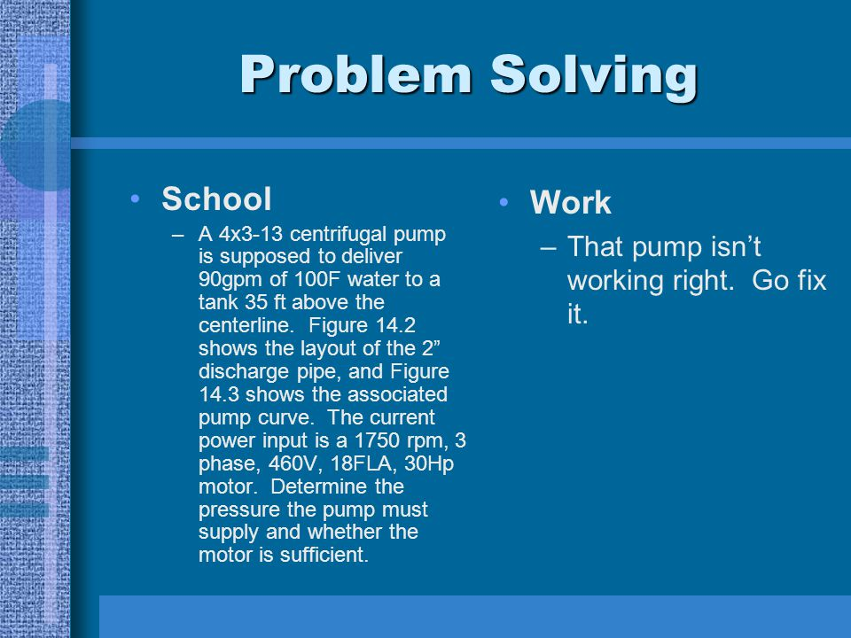 Problem Solving School –A 4x3-13 centrifugal pump is supposed to deliver 90gpm of 100F water to a tank 35 ft above the centerline. Figure 14.2 shows t