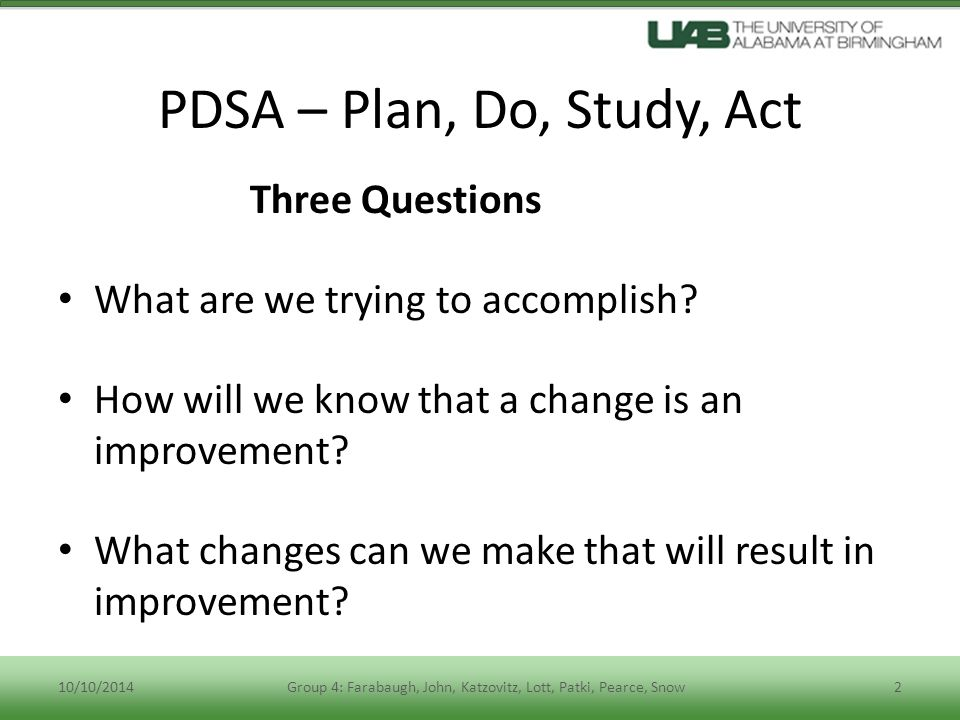 PDSA – Plan, Do, Study, Act Plan: Who will do the work and when.