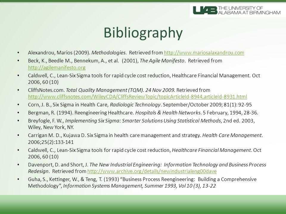 Bibliography Alexandrou, Marios (2009). Methodologies. Retrieved from http://www.mariosalaxandrou.comhttp://www.mariosalaxandrou.com Beck, K., Beedle