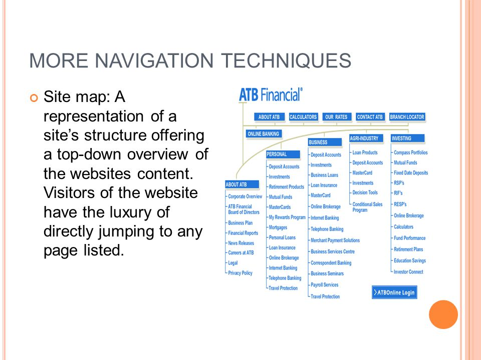 MORE NAVIGATION TECHNIQUES Site map: A representation of a site's structure offering a top-down overview of the websites content. Visitors of the webs