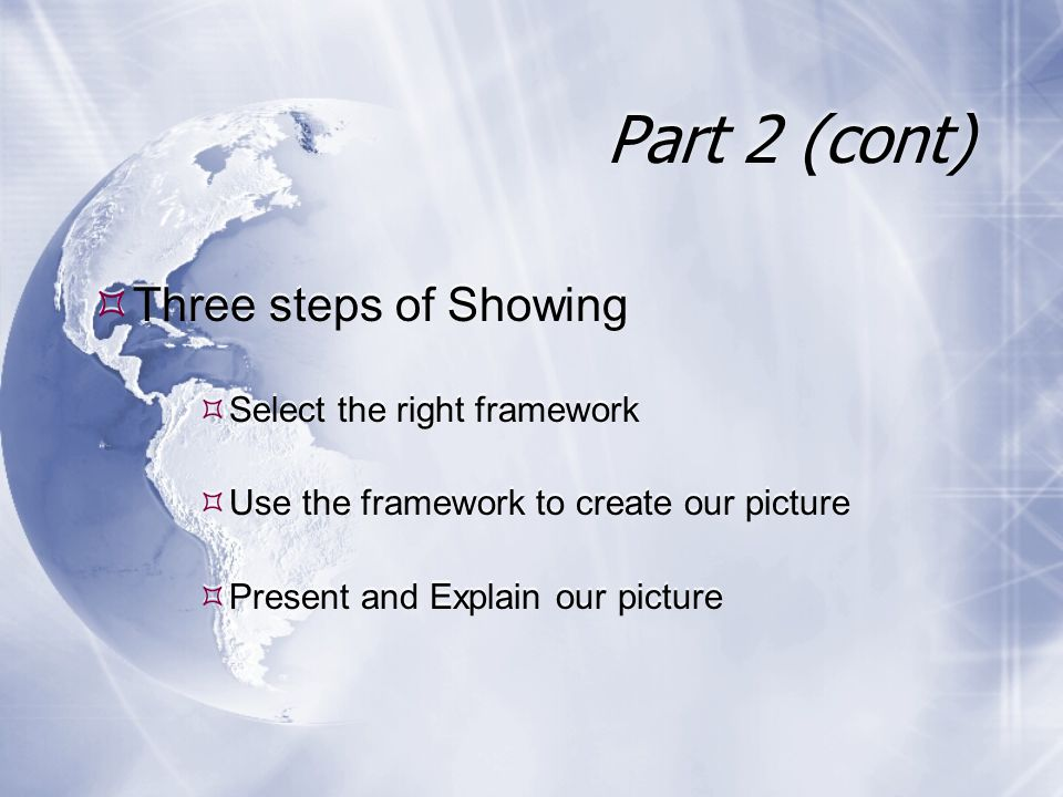  Three steps of Showing  Select the right framework  Use the framework to create our picture  Present and Explain our picture  Three steps of Showing  Select the right framework  Use the framework to create our picture  Present and Explain our picture