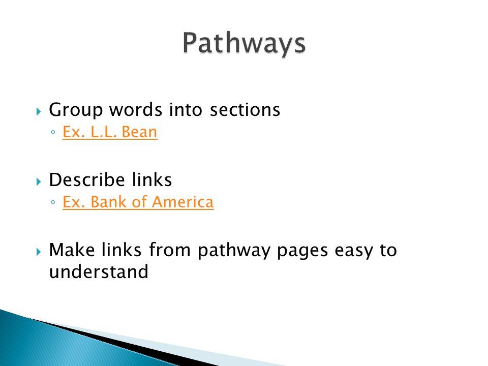  Group words into sections ◦ Ex. L.L. Bean Ex. L.L.