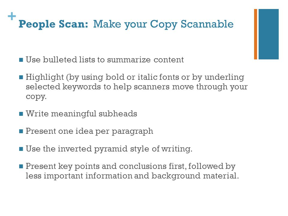 + 3 Things you Must Know Before you Write Web Copy: Know your objective.