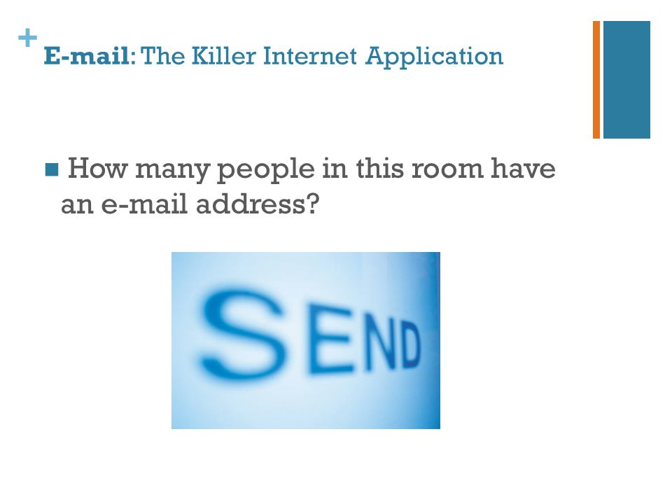 + E-mail: The Killer Internet Application How many people in this room have an e-mail address?