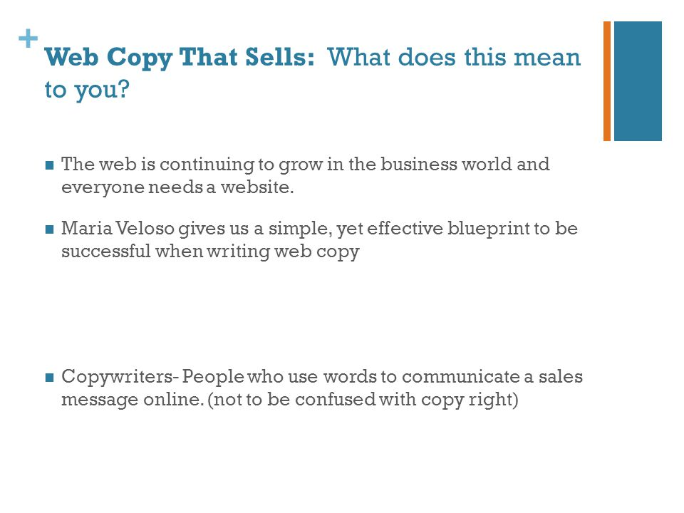 + Web Copy That Sells: What does this mean to you.