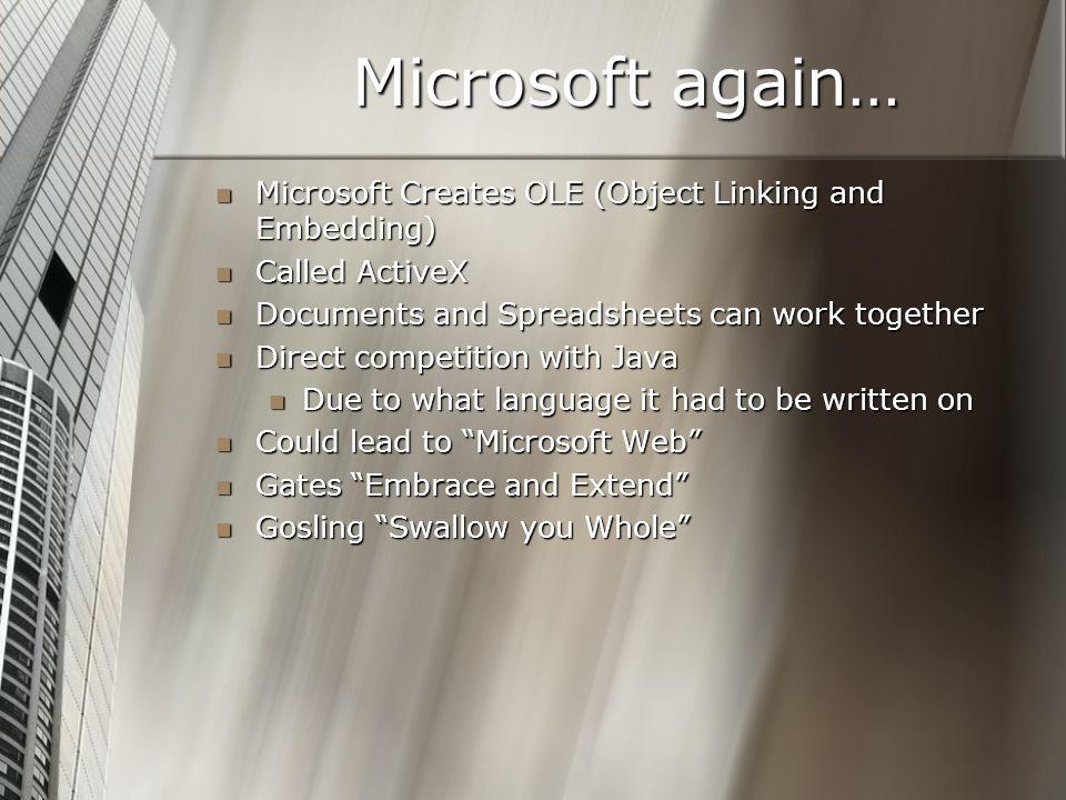 Microsoft again… Microsoft Creates OLE (Object Linking and Embedding) Microsoft Creates OLE (Object Linking and Embedding) Called ActiveX Called Activ
