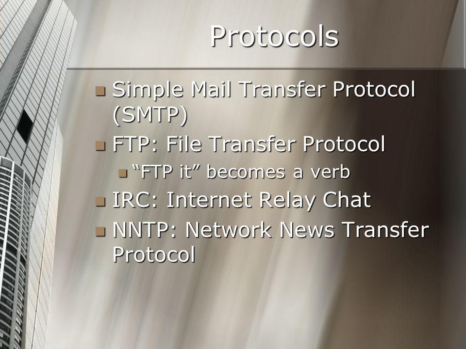 "Protocols Simple Mail Transfer Protocol (SMTP) Simple Mail Transfer Protocol (SMTP) FTP: File Transfer Protocol FTP: File Transfer Protocol ""FTP it"" b"