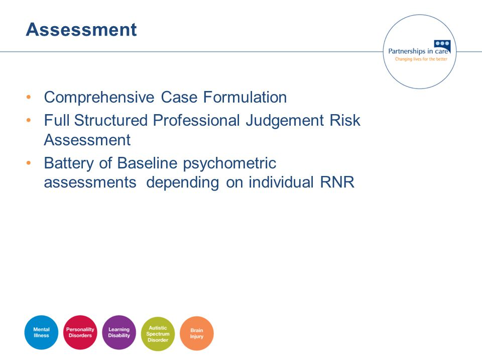 Assessment Comprehensive Case Formulation Full Structured Professional Judgement Risk Assessment Battery of Baseline psychometric assessments dependin
