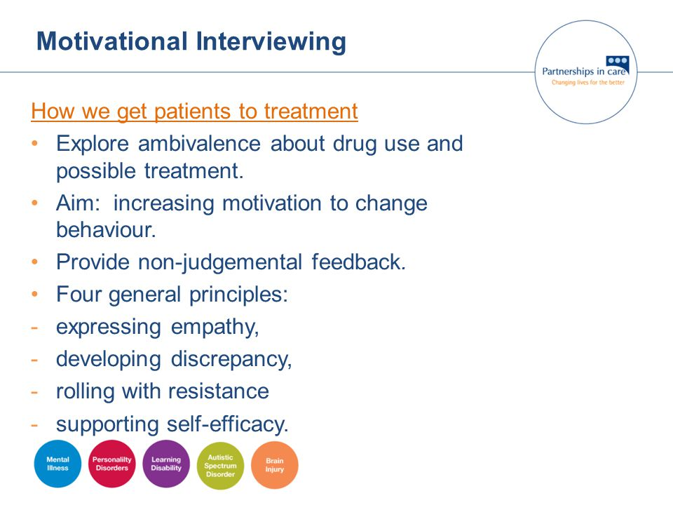 Motivational Interviewing How we get patients to treatment Explore ambivalence about drug use and possible treatment. Aim: increasing motivation to ch