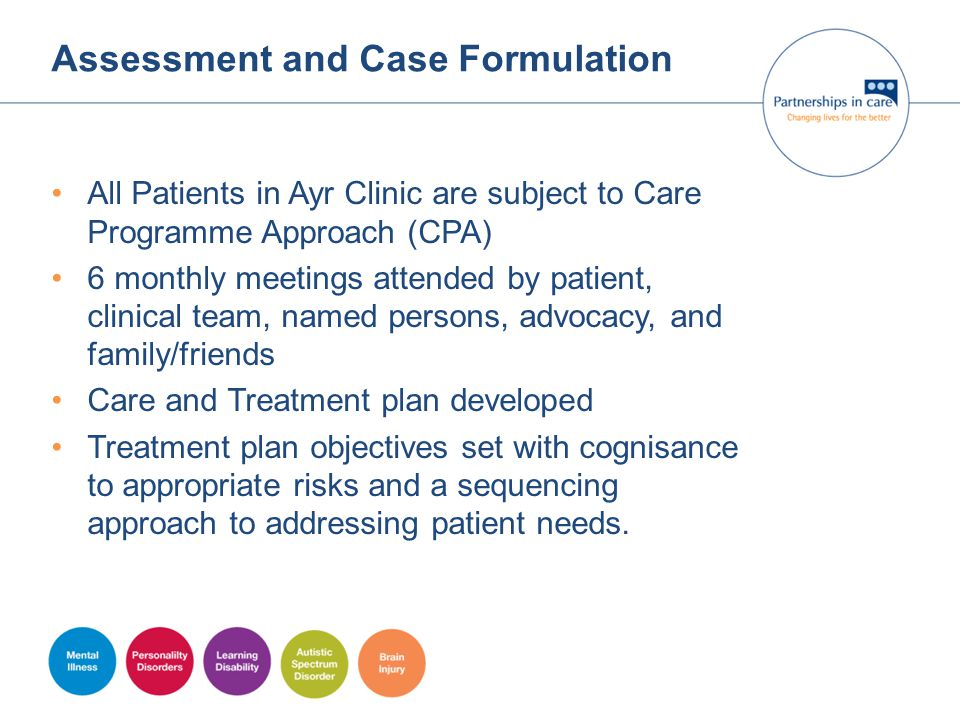 Assessment and Case Formulation All Patients in Ayr Clinic are subject to Care Programme Approach (CPA) 6 monthly meetings attended by patient, clinic