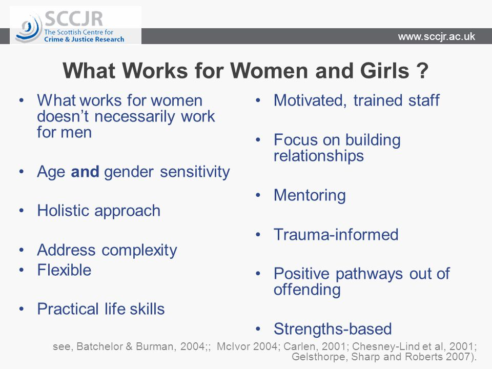 www.sccjr.ac.uk What Works for Women and Girls ? What works for women doesn't necessarily work for men Age and gender sensitivity Holistic approach Ad