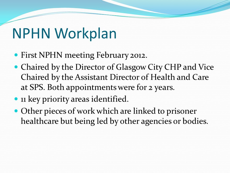NPHN Workplan First NPHN meeting February 2012. Chaired by the Director of Glasgow City CHP and Vice Chaired by the Assistant Director of Health and C
