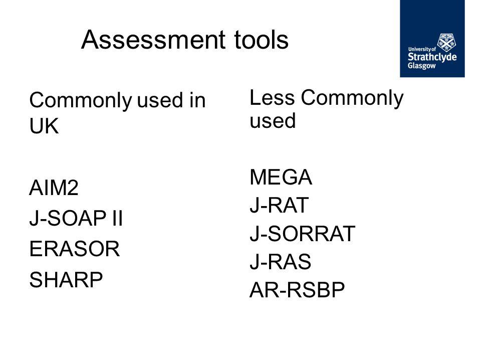 Assessment tools Commonly used in UK AIM2 J-SOAP II ERASOR SHARP Less Commonly used MEGA J-RAT J-SORRAT J-RAS AR-RSBP