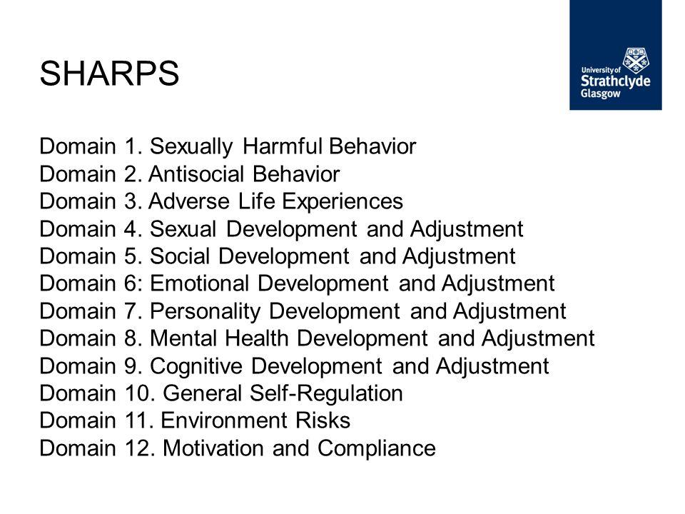 Domain 1.Sexually Harmful Behavior Domain 2. Antisocial Behavior Domain 3.