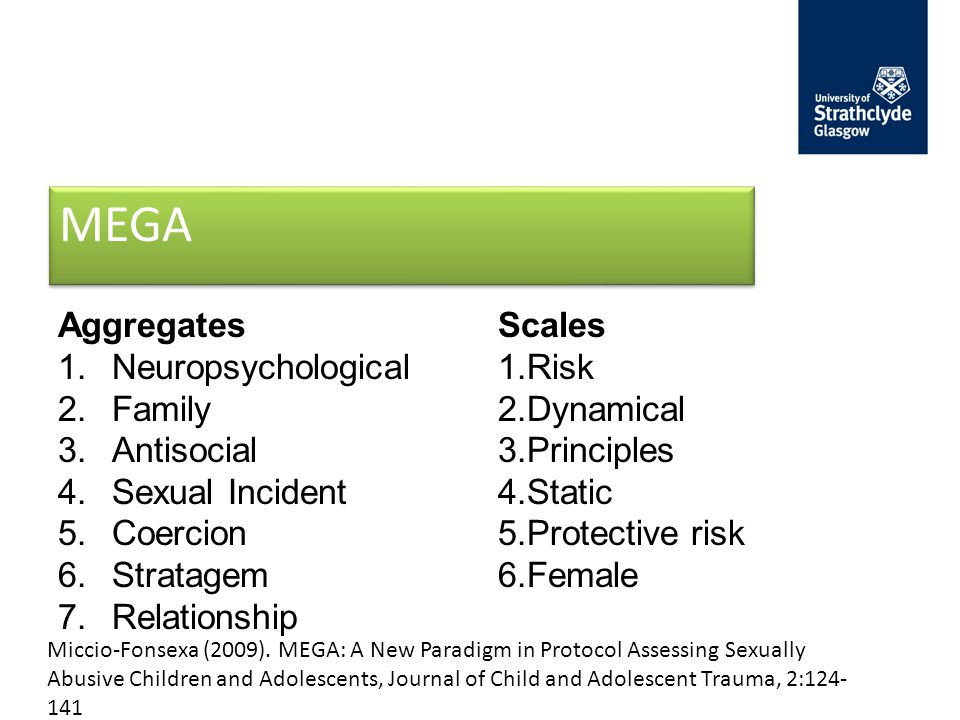 MEGA Aggregates 1.Neuropsychological 2.Family 3.Antisocial 4.Sexual Incident 5.Coercion 6.Stratagem 7.Relationship Scales 1.Risk 2.Dynamical 3.Principles 4.Static 5.Protective risk 6.Female Miccio-Fonsexa (2009).