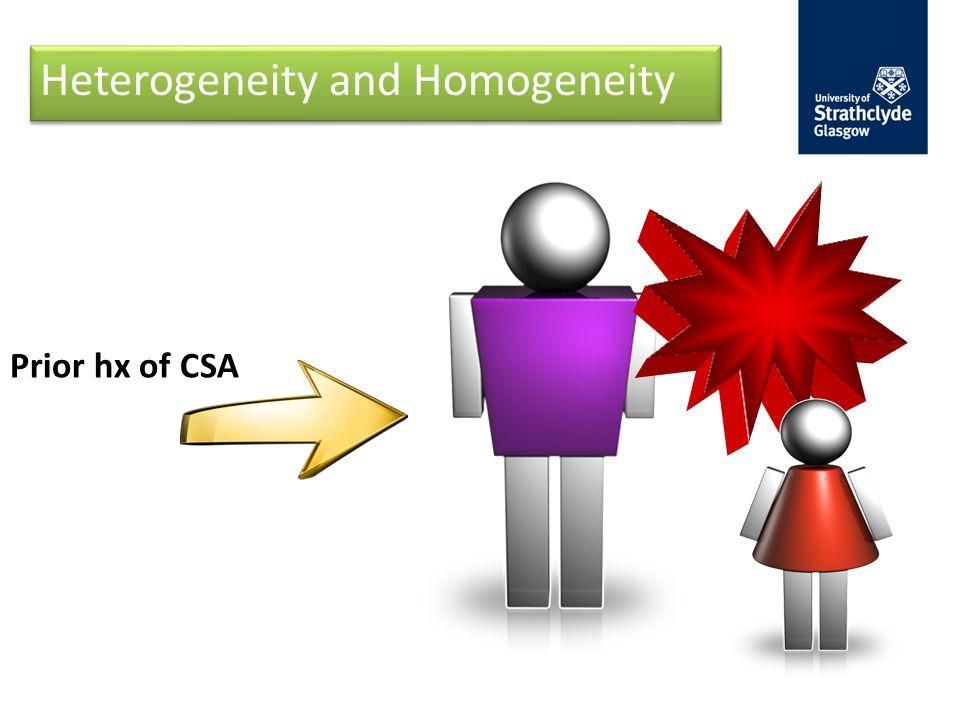 Heterogeneity and Homogeneity Prior hx of CSA