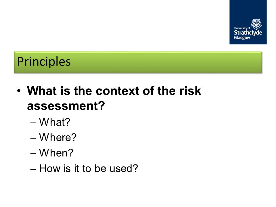 Principles What is the context of the risk assessment? –What? –Where? –When? –How is it to be used?