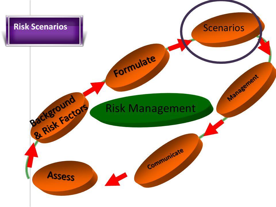 Assess Formulate Scenarios Communicate Risk Management Management Background & Risk Factors Risk Scenarios