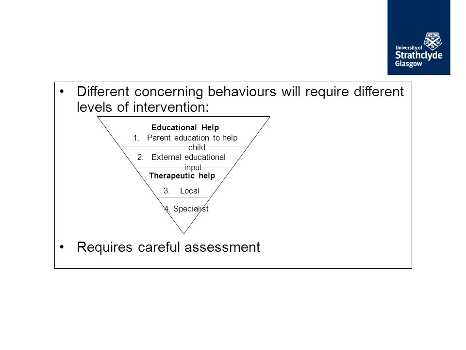Different concerning behaviours will require different levels of intervention: Requires careful assessment Educational Help 1. Parent education to hel