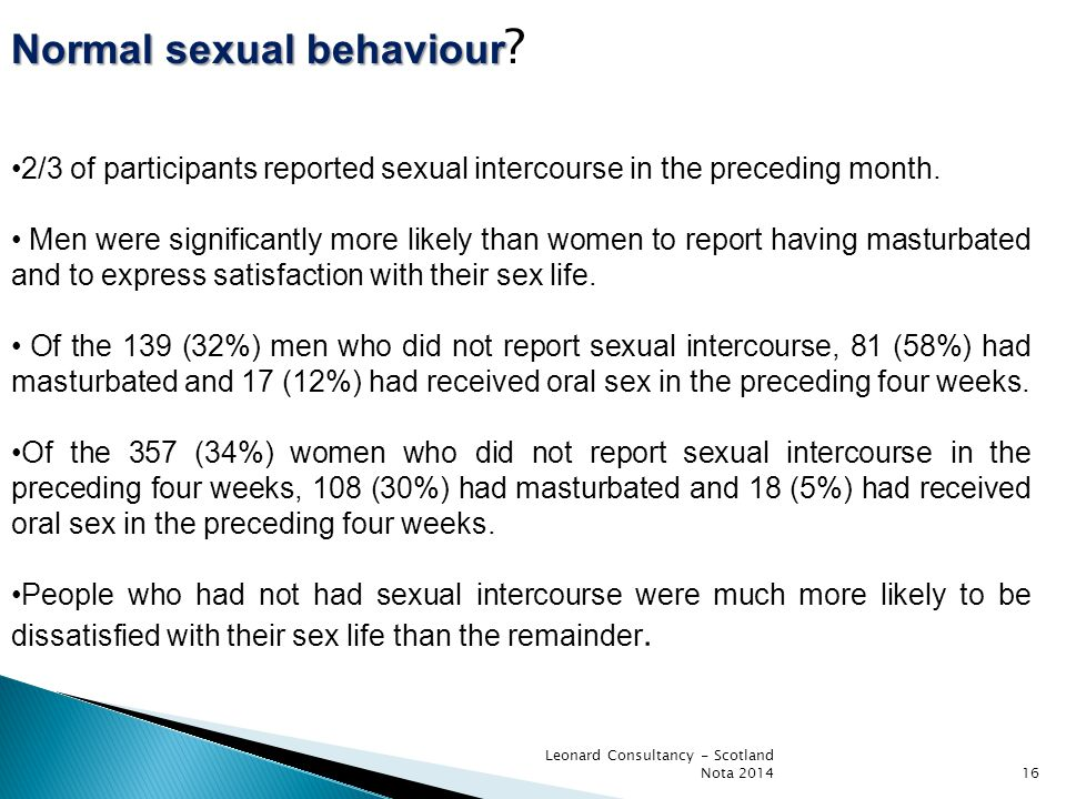 Leonard Consultancy - Scotland Nota 201416 Normal sexual behaviour Normal sexual behaviour ? 2/3 of participants reported sexual intercourse in the pr