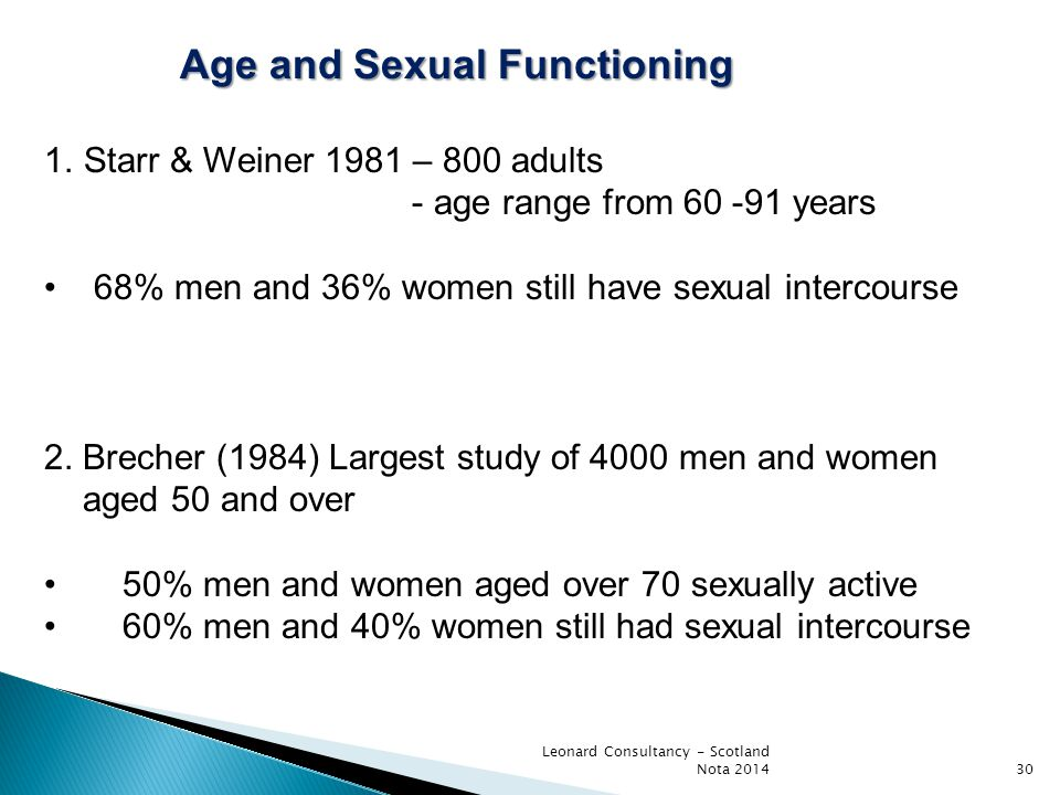 Age and Sexual Functioning Age and Sexual Functioning 1.Starr & Weiner 1981 – 800 adults - age range from 60 -91 years 68% men and 36% women still hav