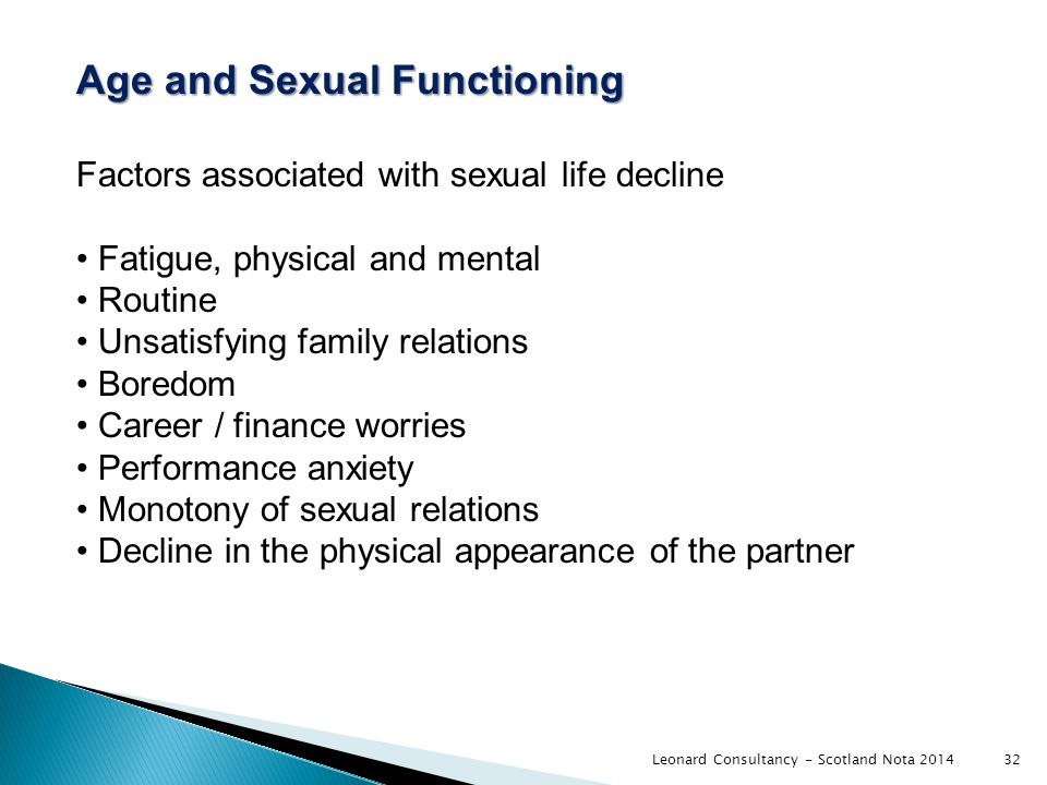 Age and Sexual Functioning Factors associated with sexual life decline Fatigue, physical and mental Routine Unsatisfying family relations Boredom Career / finance worries Performance anxiety Monotony of sexual relations Decline in the physical appearance of the partner 32Leonard Consultancy - Scotland Nota 2014