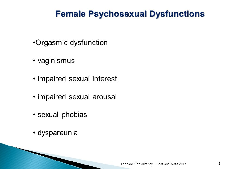 Leonard Consultancy - Scotland Nota 2014 42 Female Psychosexual Dysfunctions Orgasmic dysfunction vaginismus impaired sexual interest impaired sexual