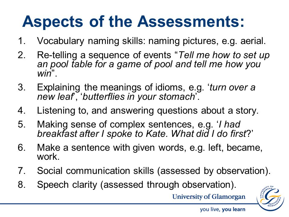 Aspects of the Assessments: 1.Vocabulary naming skills: naming pictures, e.g.