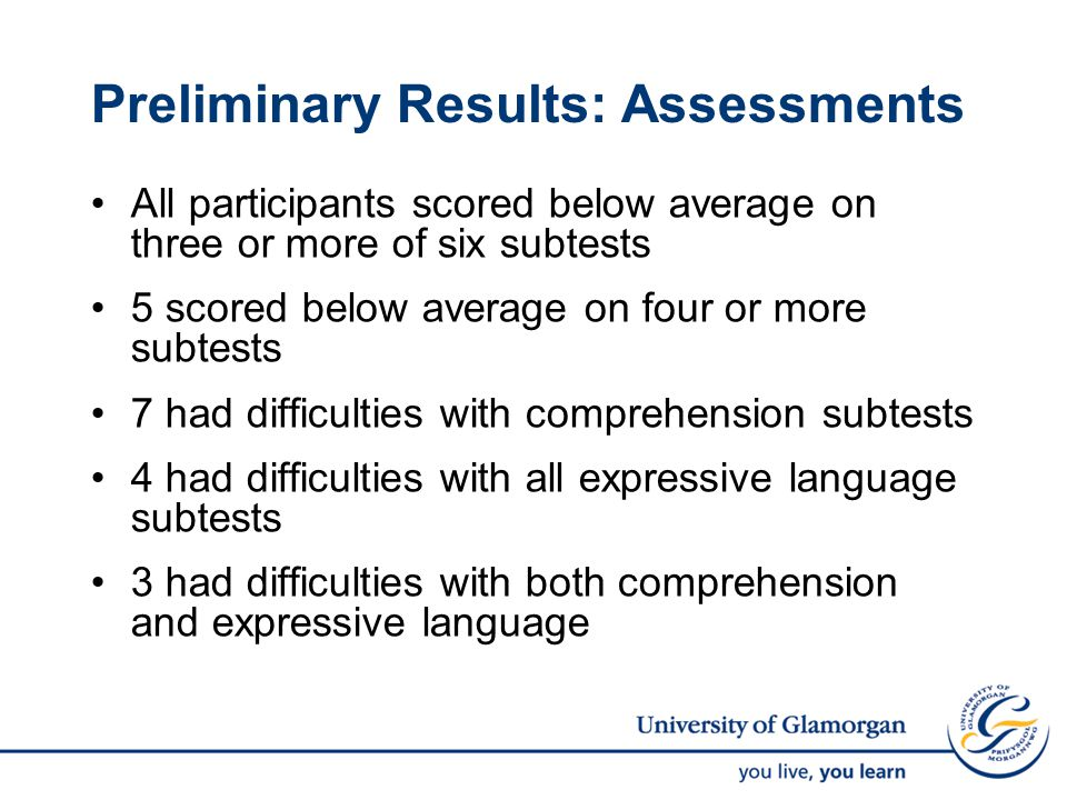 Preliminary Results: Assessments All participants scored below average on three or more of six subtests 5 scored below average on four or more subtests 7 had difficulties with comprehension subtests 4 had difficulties with all expressive language subtests 3 had difficulties with both comprehension and expressive language