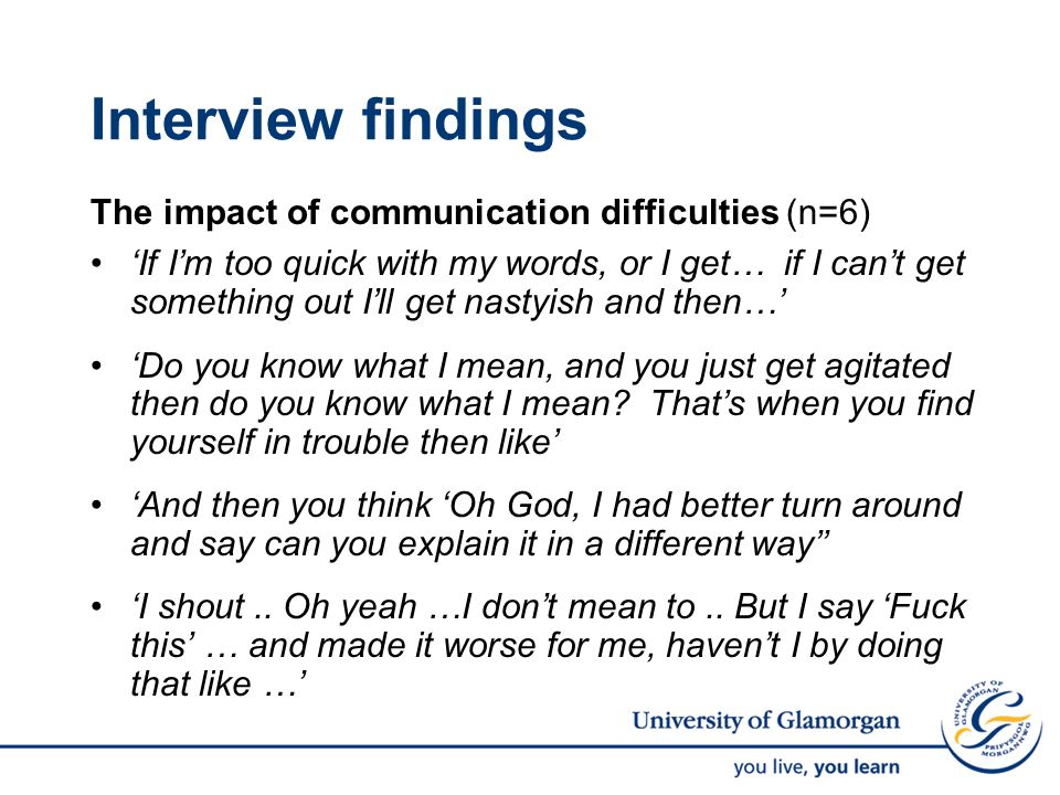Interview findings The impact of communication difficulties (n=6) 'If I'm too quick with my words, or I get… if I can't get something out I'll get nastyish and then…' 'Do you know what I mean, and you just get agitated then do you know what I mean.
