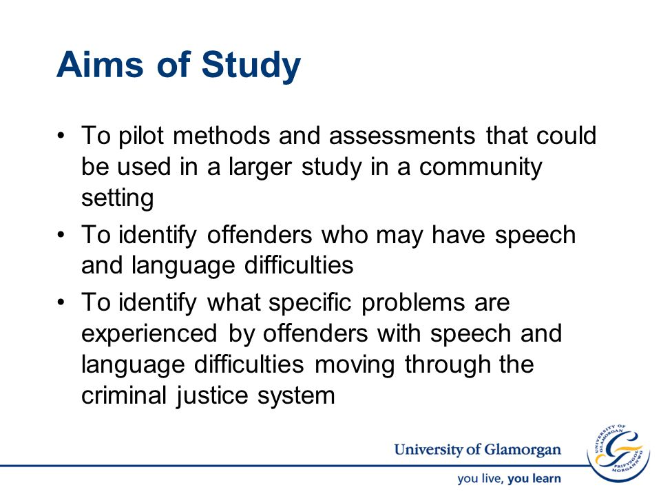 Original Intentions Explore possible impact of S&L difficulties by interviewing offenders to find examples of times when they had difficulty understanding the language used, or had difficulty expressing themselves Bring together Magistrates Courts, Youth Offending Teams and the Probation Service Begin data collection in Magistrates' Courts Assess 80 offenders to identify 20 with communication difficulties Follow up assessments with face-to-face interviews Hold a focus group to discuss communication difficulties in the criminal justice system and what can be done to address these issues