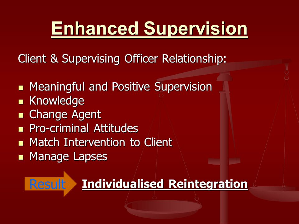 Enhanced Supervision Client & Supervising Officer Relationship: Meaningful and Positive Supervision Meaningful and Positive Supervision Knowledge Knowledge Change Agent Change Agent Pro-criminal Attitudes Pro-criminal Attitudes Match Intervention to Client Match Intervention to Client Manage Lapses Manage Lapses Individualised Reintegration Individualised Reintegration Result