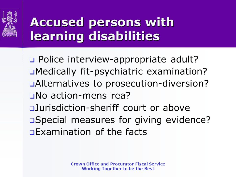 Accused persons with learning disabilities  Police interview-appropriate adult.