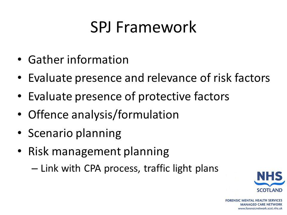 SPJ Framework Gather information Evaluate presence and relevance of risk factors Evaluate presence of protective factors Offence analysis/formulation