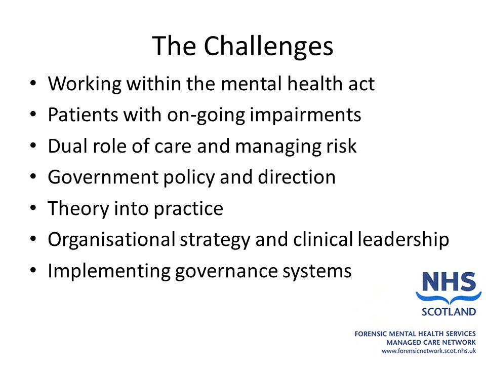 The Challenges Working within the mental health act Patients with on-going impairments Dual role of care and managing risk Government policy and direction Theory into practice Organisational strategy and clinical leadership Implementing governance systems