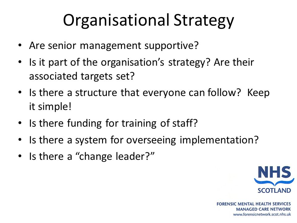 Organisational Strategy Are senior management supportive? Is it part of the organisation's strategy? Are their associated targets set? Is there a stru