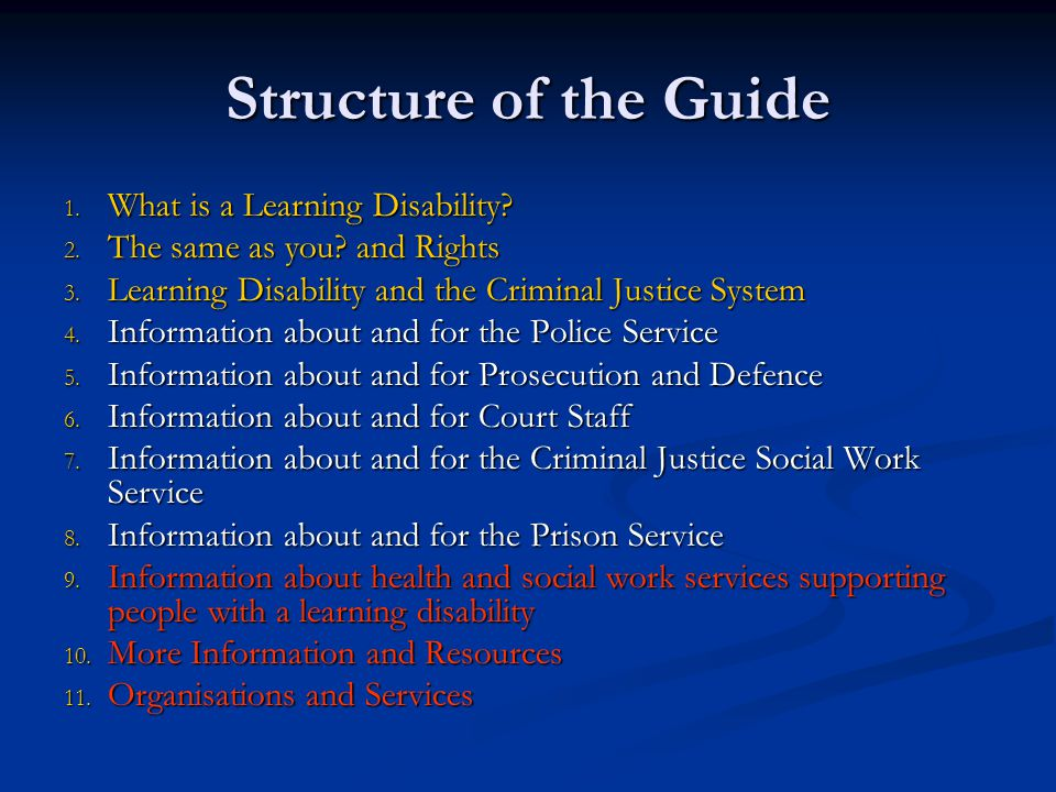 Some Key Points from specific profession sections Criminal Justice Social Work services Criminal Justice Social Work services Potential for use of diversion from prosecution as a positive intervention Potential for use of diversion from prosecution as a positive intervention Should have good links with local learning disability services Should have good links with local learning disability services Prisons Prisons Should ensure that Prison Healthcare Teams are aware of prisoners who have a learning disability Should ensure that Prison Healthcare Teams are aware of prisoners who have a learning disability Need to recognise potential vulnerability of prisoners with a learning disability Need to recognise potential vulnerability of prisoners with a learning disability